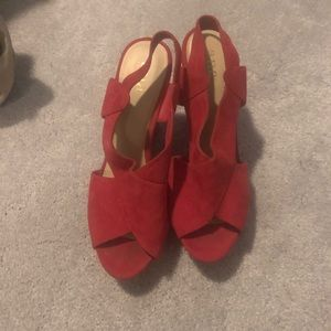 Red suede wedges
